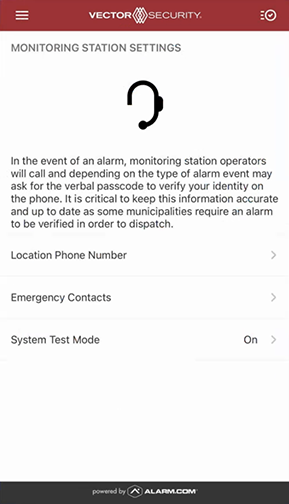 Vector Security App System on Test 5